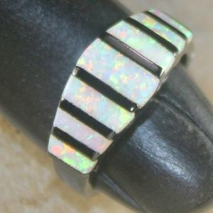 White Fire Opal Black Silver Ring